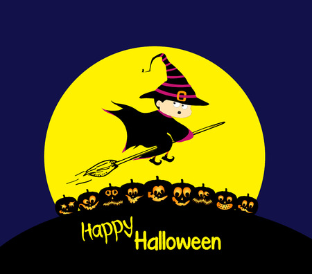 house party: Flying cartoon witch and pumpkin. Big moon. Happy Halloween card Illustration