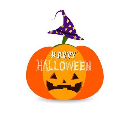 halloween greetings: Illustration of a Halloween Pumpkin with Halloween Greetings Written Over it