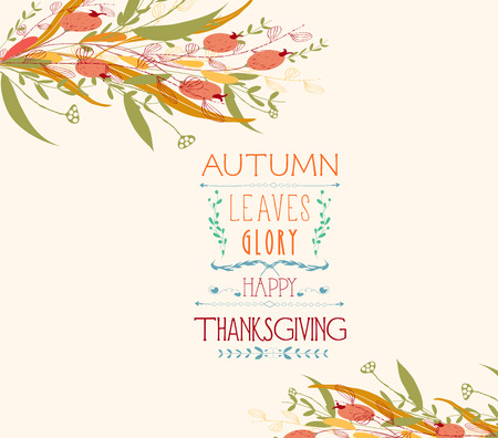 date fruit: Thanksgiving. Autumn leaves greeting cards Illustration