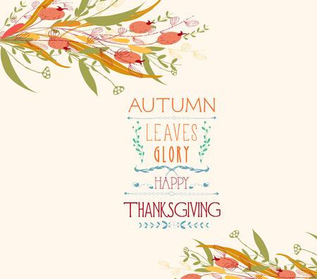 dinner date: Thanksgiving. Autumn leaves greeting cards Illustration