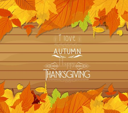 Thanksgiving leaves on wood background Çizim