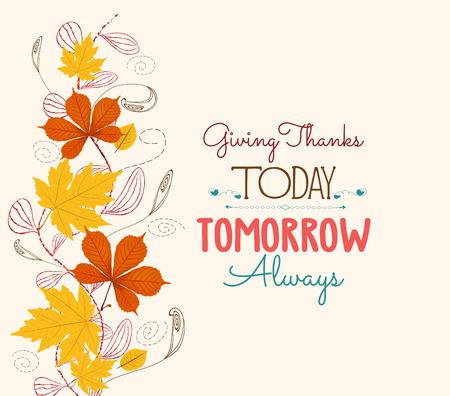 Dankzegging. Herfstblad achtergrond