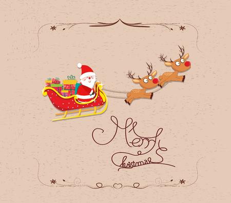santaclause: Santa Claus flying merry christmas Cartoon Illustration