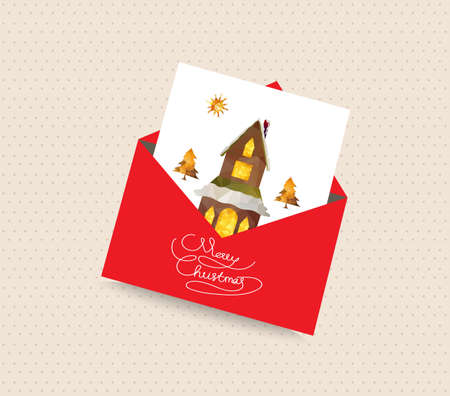 christmas house: merry christmas greeting card envelope with house and tree Illustration