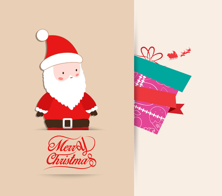 santaclause: merry christmas with santa claus and gift retro background Illustration