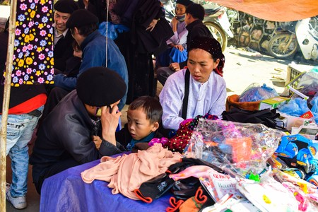 vietnamese ethnicity: Ha Giang, Vietnam - November 08, 2015: The family Hmong in Vietnam, In the northern province of Ha Giang in Vietnam.