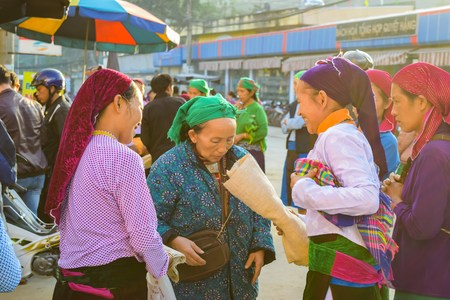 ha giang: HA GIANG, VIETNAM - November 08, 2015: Woman in ethnic Hmong fair in Ha Giang, Vietnam. Ha Giang is home to mostly Hmong live. Editorial