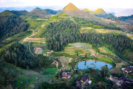 dong: Amazing mountain landscape in Dong Van karst plateau global geological park, Hagiang, Vietnam