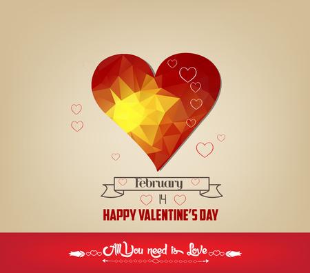romantic: romantic geometrical heart happy valentine day cards