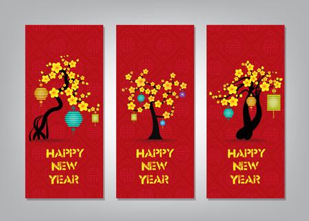 flores chinas: Vertical de la mano dibuja pancartas fijaron con el Año Nuevo Chino Vectores
