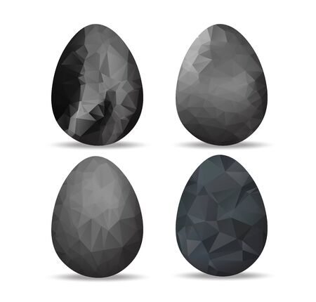paschal: Set black geometrical Easter eggs and happy easter