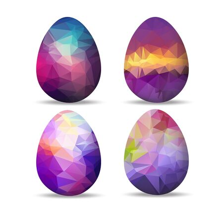 paschal: Set retro geometrical Easter eggs and happy easter