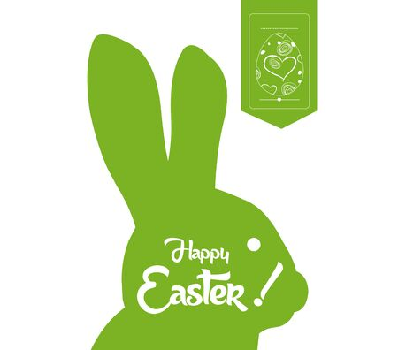 typographical: happy easter typographical and eggs label background Illustration