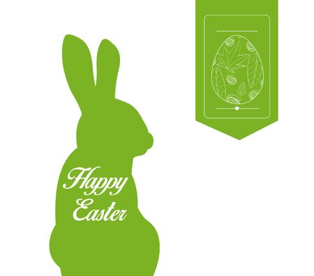 ostern: happy easter typographical and eggs label background Illustration