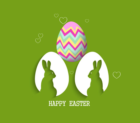 easter card: paper egg with shadow Easter card