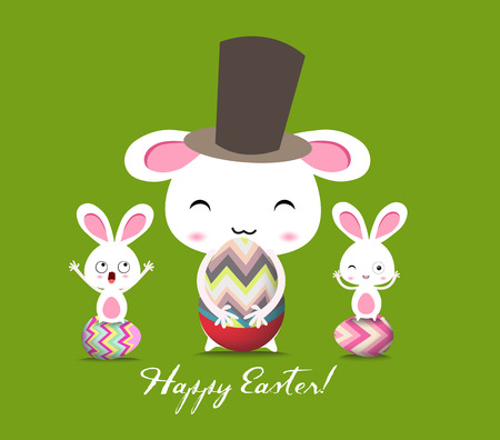 Ostern: Happy Easter Greeting Card Illustration