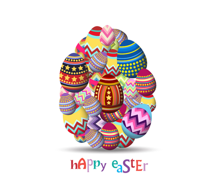 egg shaped: Easter Holiday Greeting Card with Set Egg shaped Illustration