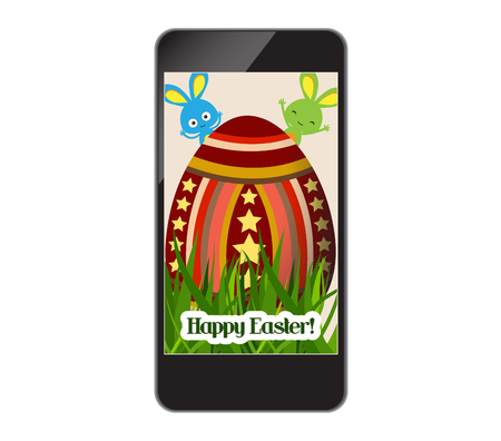 ear phones: happy easter with grass and egg on smartphone