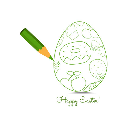 spring out: Green Pencil with Reflection Drawing Easter Egg on White Background