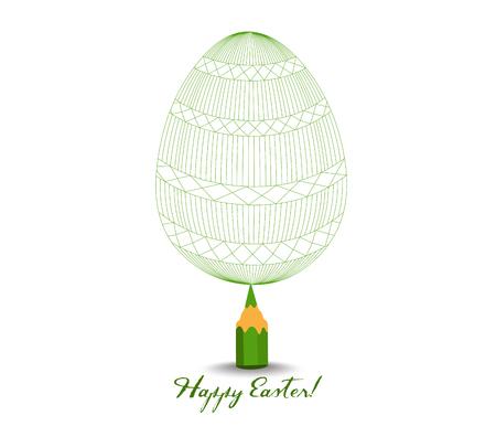 huevo blanco: Lápiz verde con la reflexión Dibujo Huevo de Pascua en el fondo blanco