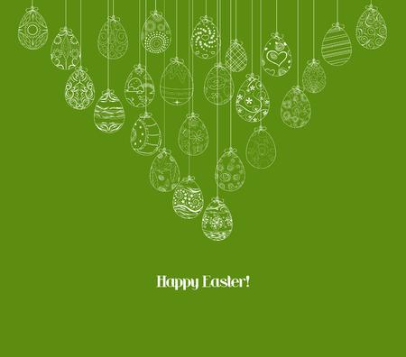 honeysuckle: Hanging easter eggs ornament card