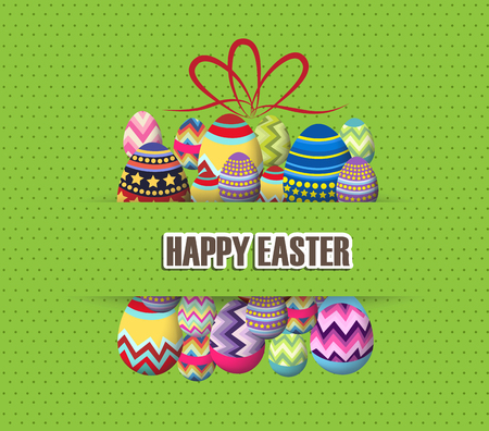 tulips in green grass: green Paper card with gift easter eggs
