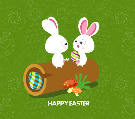 hide and seek: Easter card background - log with colored eggs and bunny Illustration