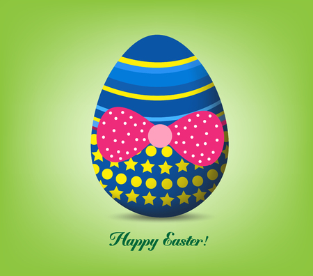 Funny easter egg with red bow - Happy Easter Card