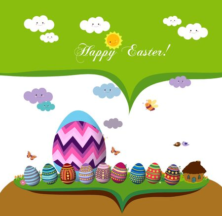 hide and seek: happy easter. spring season background with eggs Illustration
