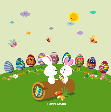 hide and seek: Happy easter. eggs ground round background