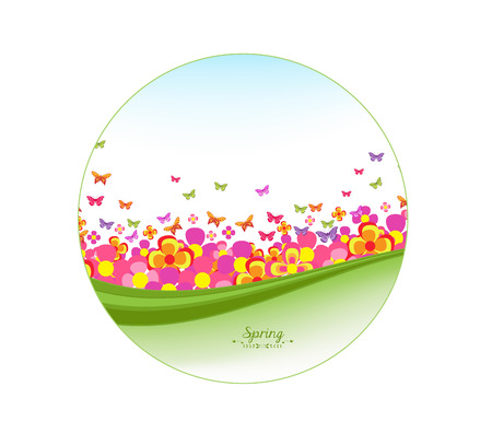 tranquil scene on urban scene: illustration of butterflies, flower colorful Illustration