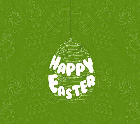 honeysuckle: Happy easter eggs ornament card Illustration