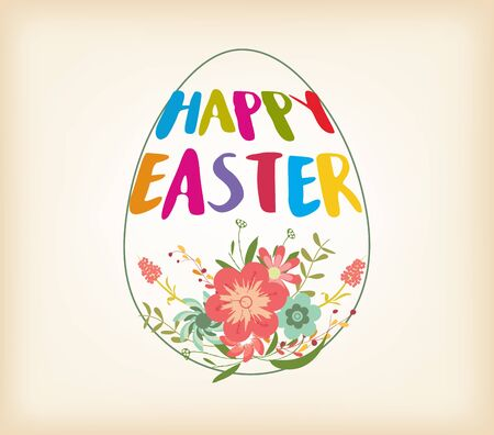 typographical: Happy Easter Typographical Background With And Flowers