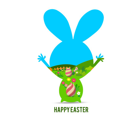 easter eggs: happy easter with bunny