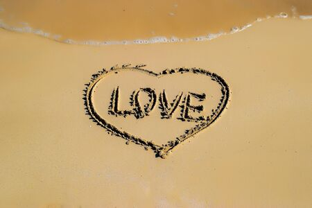 con dao: The heart shape in the sand beach