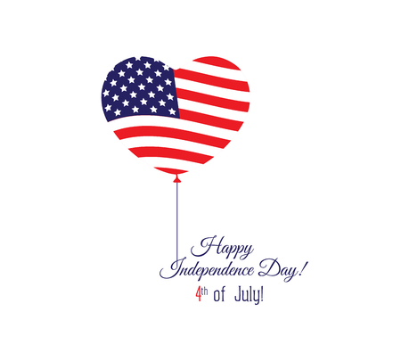 typographical: Independence day of the USA typographical background. Shining realistic balloons