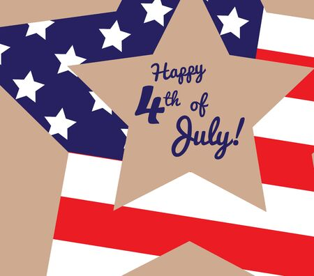 feast day: Funny card Happy 4th of July. Feast day of American Independence. Retro card with congratulations