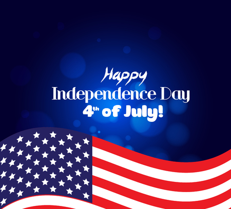 Independence day background and badge with US flag