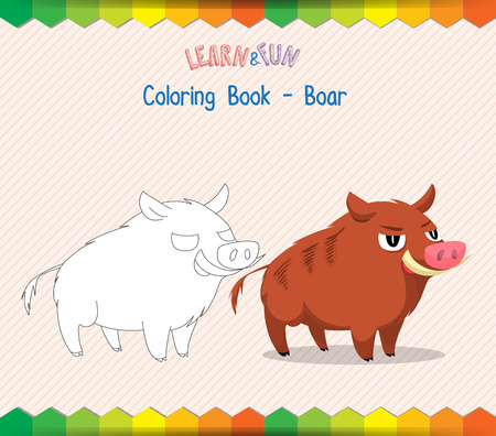 boar: Boar coloring book educational game Illustration