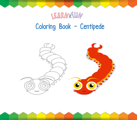 centipede: Centipede coloring book educational game Illustration