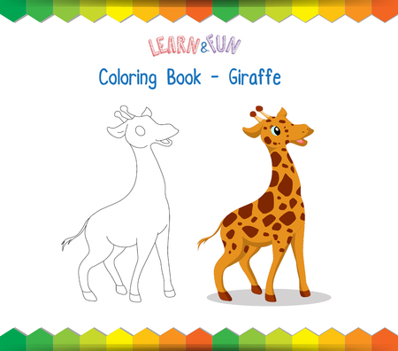 winds: Giraffe coloring book educational game Illustration