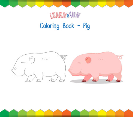dyeing: Pig coloring book educational game Illustration