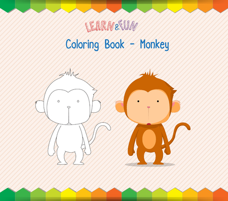 Monkey coloring book educational game