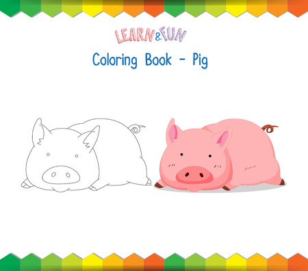 educational: Pig coloring book educational game Illustration