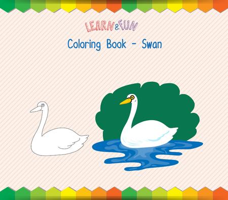 educational: Swan coloring book educational game
