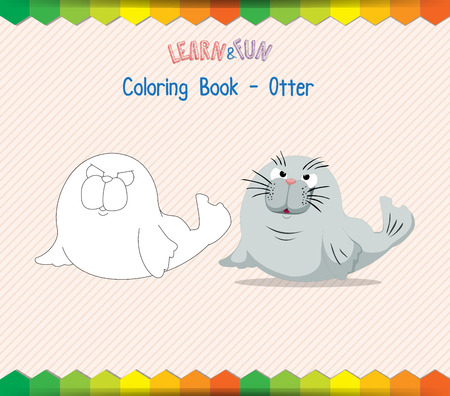 winds: Otter coloring book educational game Illustration