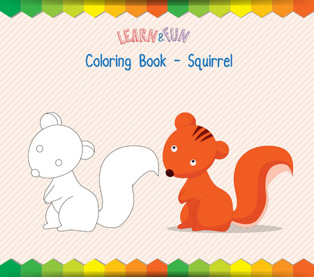 kinky: squirrel coloring book educational game Illustration