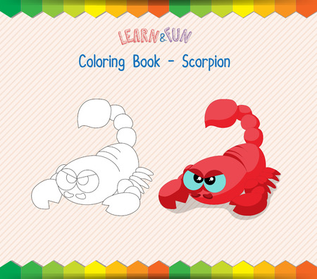 cartoon scorpion: Scorpion coloring book educational game Illustration