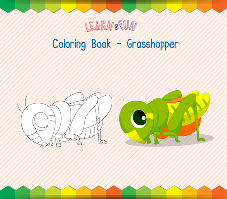 dyeing: Grasshopper coloring book educational game