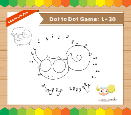 riddle: Cartoon Sheep. Dot to dot educational game for kids